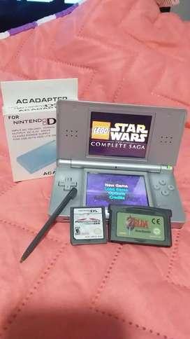 Nintendo dslite,lapuz,cargador,mario kart,star wars y zelda.