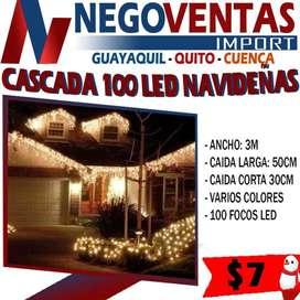Cascada led de 100 luces navideñas decorativas