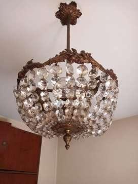 Araña de bronce 3 lámparas
