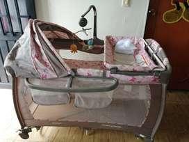 Corral cuna ebaby rosado mariposas