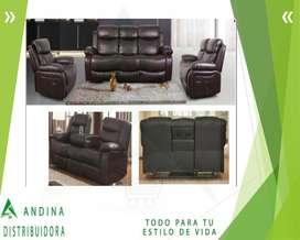 Sofá Reclinable  Tres Puestos Modelo Elegante