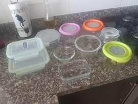 Set de refractarias en vidrio + 1 frasco de vidrio para la cocina