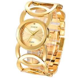 Reloj Cuarzo Bañado Oro Mujer regalo joyas collar celular