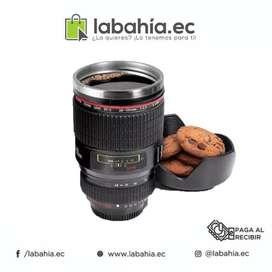 Taza tipo lente de cámara canian de metal para cafe