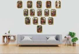 cuadros poster viacrucis 15 estaciones en madera mdf de 2.5 ml medidas 29x21 cm  para deracorar salas o oficinas