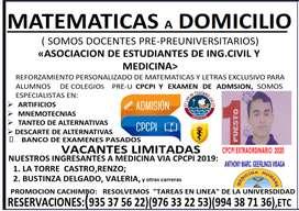 MATEMATICAS A DOMICILIO A TODO  NIVEL.
