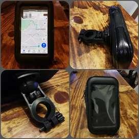 Soporte celular moto tactil 15x8.5cm impermeable impecable