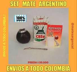 SET MATERO ARGENTINO! MATE CALABAZA NATURAL CON VIROLA ALUMINIO CON BOMBILLA ACERO RESORTE y PIEDRA c\ YERBA MATE 500 GR
