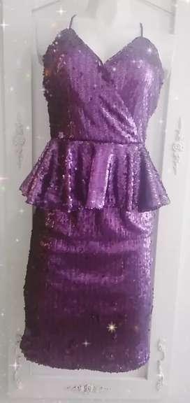 Vestido de fiesta en lentejuelas nuevo estudio F 60% descuento