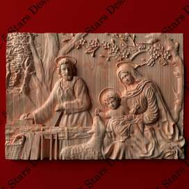 Cuadro tallado en madera alto relieve-  Sagrada Familia