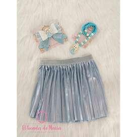 Falda Plisada Azul Metalizada