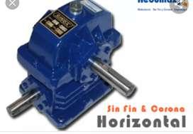 Reductor de velocidad a sin fin y corona horizontal
