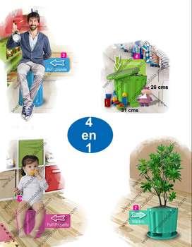 Puff Silla Organizador Desarmable Plástico 4en1 Regalo Niños