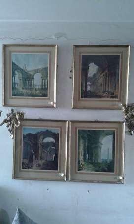 Láminas enmarcadas antiguas interior de edificios clasico vintage retro