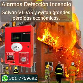 Alarmas para detección de Incendios, Detector de humo, Sirena de emergencia. Cali