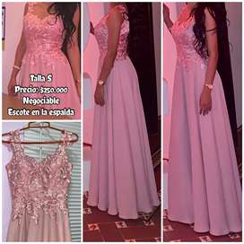 Vestido largo color palo de rosa talla S