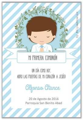 Invitaciones Bautizo, Cumpleaños, Baby Shower, Comunion y Misa