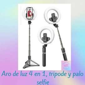 Aro de luz 4 en 1, trípode o palo de selfie