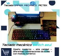 TECLADO MECÁNICO SWITCH AZUL MARCA PICKET ALTA CALIDAD