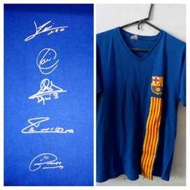 Camiseta clásica Barcelona autografiada