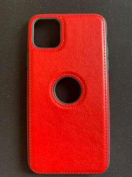 Forro de cuero rojo para iPhone 11 Pro Max