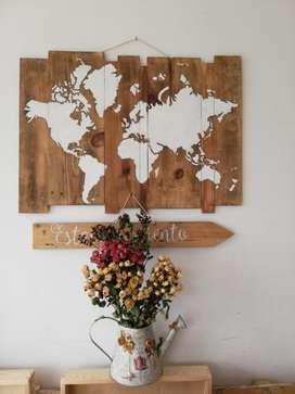 Mapa Mundo, mundo vintage en madera.