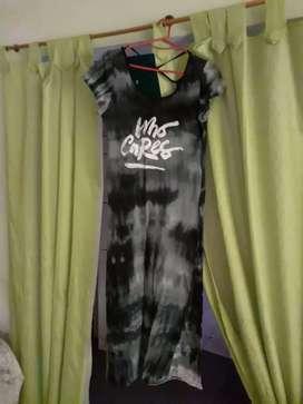 Vestido modal gris negro