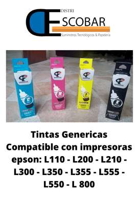 KIT DE 4 TINTAS GENERICAS COMPATIBLES CON IMPRESORA EPSON