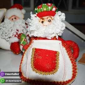 Muñeco decoración mesa navideña Tetera navideña