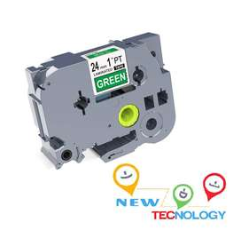 Cinta Brother Tze755 24mm Blanco sobre Verde P-touch Compatible