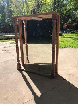 Espejo de madera de cedro con luz