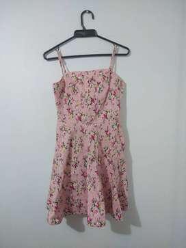 Vestido Rosado con flores, Shabby Chic, talla M.