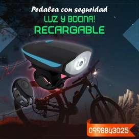 Potente Luz Delantera para Bicicleta, recargable por USB y sirena con sonido fuerte, con correa de silicona resistente