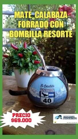 MATE CALABAZA ARGENTINO FORRADO con BOMBILLA ACERO RESORTE !