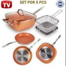 Combo Sarten Copper Chef Migas 5 Piezas Set Juego De Cocina