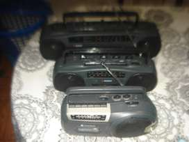 LOTE DE 3 RADIOGRABADORES A REPARAR