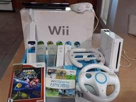 Wii con 2 controles, juegos y accesorios