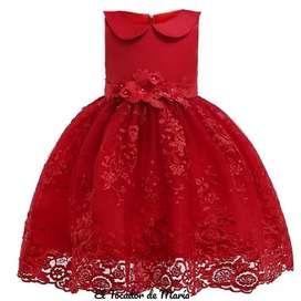 Vestido Rojo Encaje Abajo