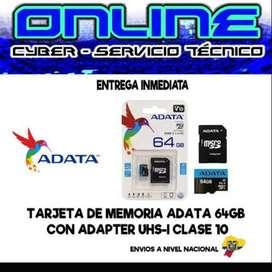 TARJETA DE MEMORIA ADATA 64GB CLASE 10 MAYOR= $13,90