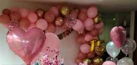 Decoración en casa  globos  15 años  en casa  globos  cumpleaños
