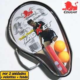 Dos Paletas De Ping Pong Cougar Con Funda Y 2 Pelotitas