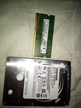 Vendo memoria ram ddr3 4gb marca samsung y disco duro de 1tb