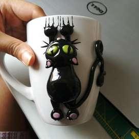 Taza Gato Porcelana Fría