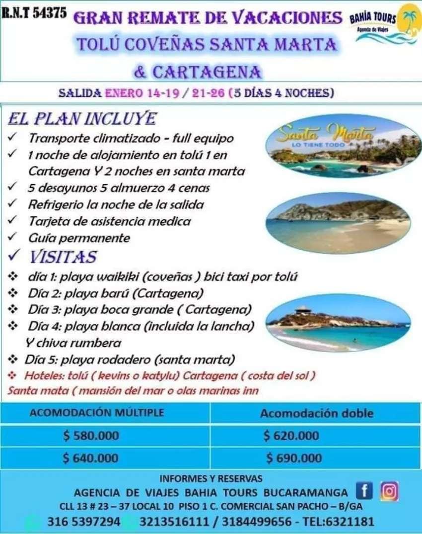 Gran remate de vacaciones tolu, cartagena y santa marta salida nero 21 0