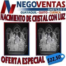 NACIMIENTO DE CRISTAL CON LUZ Y MUSICA