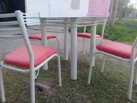 Mesa vidrio 4 sillas