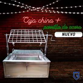 caja china parrilla en acero inoxidable