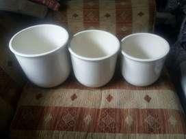 Materas en porcelana Juego de Tres nuevas