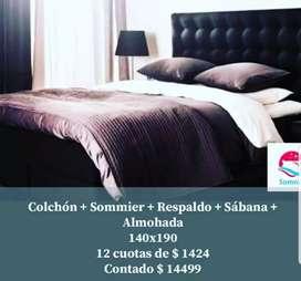 Colchón + Sommier + Respaldo + Sábana + 2 almohada