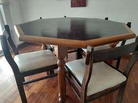 Mesa de comedor estilo jugador de póquer +4 sillas de regalo estado de la mesa intacta